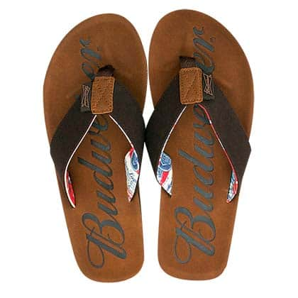 Budweiser Script Logo Men's Flip Flop Brown Sandals